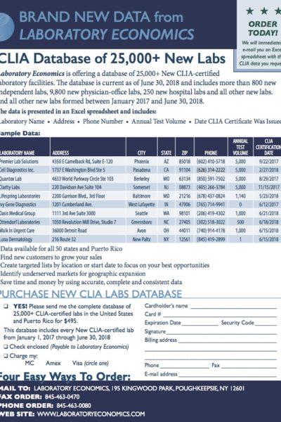 CLIA Database 2018