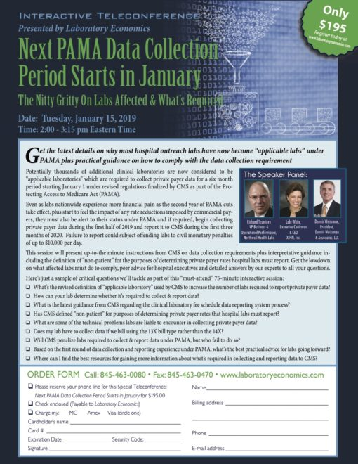 January 19 Teleconference - PAMA Data Collection